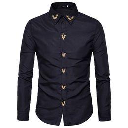 vestido bordado beige Rebajas Marca 2018 Moda Hombre Camisa de manga larga Tops bordado Casual High Quailty Mens Dress Shirts Slim Men Shirt XXL