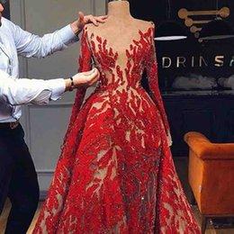 Sexy rotes netzkleid online-Arabisch Rot Lange Ärmel Spitze Lange Abendkleider Sheer Mesh Top Spitze Applique Formale Party Prom Kleider