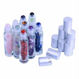 2019 bouchon en caoutchouc de bouteille en verre en gros 10pcs naturel pierre gemme bouteilles à billes pour huile essentielle parfum cristal rechargeable rouleau sur la bouteille P219