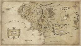 Stampa anelli di signore online-Mappa della Terra di Mezzo Signore degli Anelli Art Silk Print Poster 24x36inch (60x90cm) 018