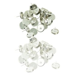 Tacos de base online-48 piezas de metal blanco plateado, redondo, blanco, en blanco, bisel, oreja, perno prisionero, base