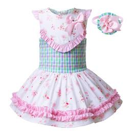 Vestido de rejilla de las niñas online-Pettigirl Ropa de verano para niños Las niñas se mezclan en color Cuadrícula Vestidos con estampado de flores Vestido con lazo rosa para niños Ropa para niños G-DMGD104-B246