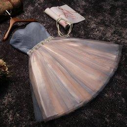 платье длиной до колена Скидка Розовое короткое короткое платье для выпускного вечера 2019 года Новое A Line Милая длиной до колен коктейльное платье выпускного вечера с шнуровкой Назад BC1319