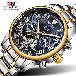tevise brand watches Promo Codes - Top Brand TEVISE Mens Automatico Masculino Automatic Men Watch Tourbillon Mechanical Watch Sport Military Clock