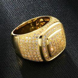 anelli di nozze di ghiaccio Sconti Gioielli di lusso della dell'oro bianco placcato Mens diamante fuori ghiacciato uomo di nozze anelli di fidanzamento Piazza Pinky Ring per gli uomini Regali per Vendita