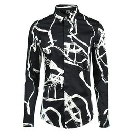 2019 гитара Guitar Pattern Black White Print Shirt Men 2019  Design Long Sleeve Pure Cotton Clothing Chemise Homme Slim Business Shirts дешево гитара