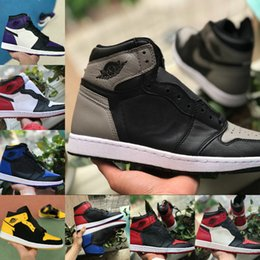 blue shoes band Coupons - 2019 New High OG Mid Mens 1 Basketball Shoes Game Royal Banned Shadow Black Toe Bred Red Blue White Shoe Cheap Women 1s Chicago Sports Shoes