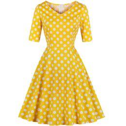 b944e55fa Joansam 50 S Hepburn Style Women Vintage Dot Vestido Estampado Clásico  Escote en V Mitad de manga Flare Cintura delgada Elegante Vestido de talla  grande