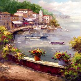 Canada Peintures méditerranéennes peintes à la main Italian Harbour impressionnisme moderne supplier italian paintings Offre