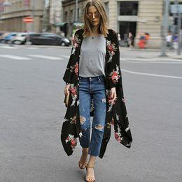 asymmetrische strickjacke plus größe Rabatt Plus Size 4XL 5XL Frauen Chiffon Kimono Cardigan Blumendruck Asymmetric Boho lose beiläufige Oberbekleidung Bademode Cover Up Blusas