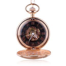 2020 reloj rosa patrón Patrón de oro rosa Steampunk Reloj de bolsillo mecánico para hombres y mujeres Joyas huecas Reloj de bolsillo REGALO + B rebajas reloj rosa patrón