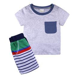 Camiseta de bolsillo para niños online-Gris Bebé Ropa Niños Dibujos animados Sol Flor Bolsillo Cuervo Rayas Trajes casuales 2pcs Sailboat Sets T-shirt + Pants 2pcs traje Ropa para niños