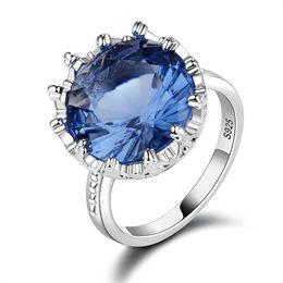 blaue stein silberne schmucksachen Rabatt Blau Edelstein Ringe Silber Farbe Hochzeit Verlobungsringe für Frauen Finger Marke Schmuck für Frauen Erstellt Blue Crystal Ring