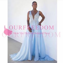 3fdbac7986dc 2019 Light Sky Blue V Neck Beaded Jumpsuits Formal Evening Dresses  Overskits Chiffon Sweep Train Formal Occasion Prom Dresses Custom Made