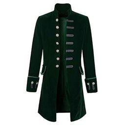casaco casual Desconto Grandes e altos Homens Velvet longo Blazer Jacket Brasão Gothic Steampunk Tailcoat Halloween Costume Masculino Casacos Casual