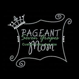 Vendere i trasferimenti di strass online-Vendita calda popolare Pageant Mom Rhinestone Iron On Heat Transfers Hot Fix Motif 20pcs