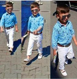 Прохладный ремни мальчиков онлайн-Дети Baby Boys Футболки с длинным рукавом с длинным рукавом + брюки + ремень Одежда наряды классный джентльмен прямая поставка 2019 8 августа