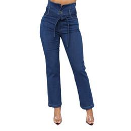 Ceinture bleu en Ligne-2019 nouvelle femme hot slim pantalon droit bleu taille haute ceinture jeans extensibles pantalons à jambes larges pantalons coupe ample