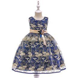 Canada Vêtements pour enfants européens et américains princesse jupe papillon noeud fleur enfants robe robe en coton fille de broderie Gold Line supplier flower embroidery for girls Offre