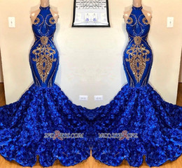 royal blue silk petals Promo Codes - 3D Flowers Royal Blue Mermaid Prom Dresses 2019 Halter Neck Petal Flowers with Gold Lace Appliqued Sequins Evening Party Gowns
