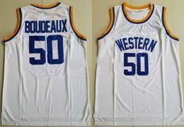 Camiseta de baloncesto estilo libre online-Nuevo estilo 50 Shaq Neon Boudeaux Jersey Hombres Universidad Baloncesto Western Movie College Jerseys Equipo Color Blanco Deporte Cosido Envío gratis