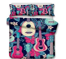 Set biancheria da letto di musica online-Set di biancheria da letto 3D per chitarra Stampa musicale Set di copripiumini per tema musicale per bambini Tessili per la casa