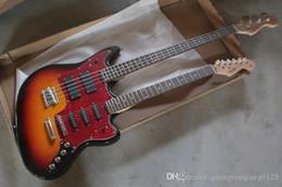e-gitarre körper stile Rabatt New Style Double Neck Aktiv Pickups Gitarre 4 Saiten Bass 6 Saiten E-Gitarre Custom Body Guitar