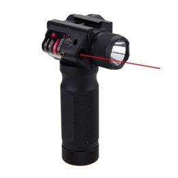 Torcia elettrica di caccia principale rossa online-Tactical Quick Detachable Vertical Grip Torcia in alluminio CREE LED Caccia Gun Light integrato con Laser rosso