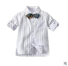 2de2052b9 Chicos Camisas a rayas Bowtie 2019 Primavera Camisetas de manga larga a rayas  Camisa Toddler Kids Tops Niños Ropa de bebé Tops Blusa Ropa informal
