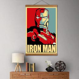 2019 stampe d'arte meravigliose Marvel Iron Man Ritratto Rotoli in legno massello Pittura Endgame Poster e stampe su tela Wall Art per Living Room Decor sconti stampe d'arte meravigliose