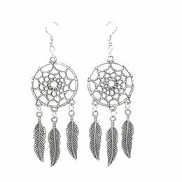 Neues china antiken online-Neue Dreamcatcher Feather Ohrringe Ancient Silver Woman Ohrringe Beliebte Ohrringe
