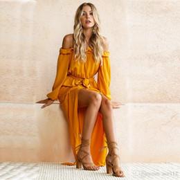 2019 vestidos amarillos sólidos Nuevo estilo sexy vestido largo de las mujeres fuera del hombro barra de slash sólido amarillo playa del verano mujeres vestidos loos maxi dress vestidos vestidos amarillos sólidos baratos