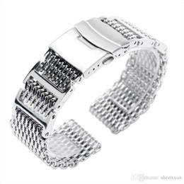 Haifisch rostfrei online-Uhrenarmband Splitter 20mm / 22mm / 24mm Breite Shark Mesh Solid Link Edelstahl Armband Verschluss Herren Uhrenarmband