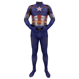 Collant capitano americano online-Costume Cosplay lycra Spandex Zentai Tight Avengers 4 Costumi anime Capitan America Costumi anime Halloween Anime Costumi Bambini Adulti