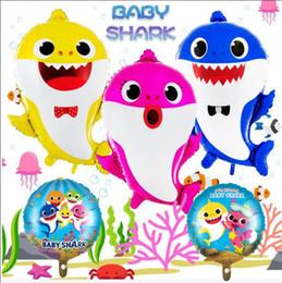 Foil balões bebê on-line-Bebê tubarão balão tubarão bebê narwhal foil balões brinquedos fontes do partido de aniversário oceanic tubarão balões partido decoração presente gga2051