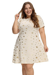 Star dress stampato più dimensioni online-OEUVRE Maglietta da donna Star Tunic Stretch Dress Plus Size Metallic Star Print Jersey