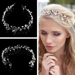 cabeza flores para novias cabello Rebajas Alta calidad astilla de cristal diadema para la novia accesorios para el cabello cabeza de flor pieza hecha a mano del pelo de la boda joyería