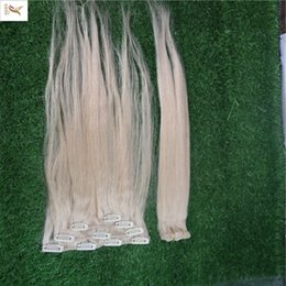 Clipe de cabelo platina on-line-Clipe de Cor Loira Platinum Em Extensões Do Cabelo 100% Cabelo Humano Tecer 1 / pcs / 100g Clipe Em Extensões Do Cabelo Em Linha Reta