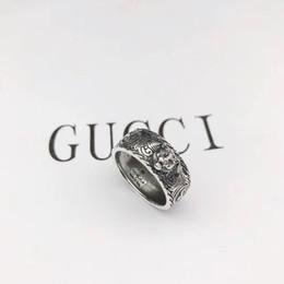 2019 regalos de lujo únicos Vintage 925 plata esterlina gg anillos 3D negro lobo único anillo animal para hombre mujer Biker Punk joyería amante de la marca regalo de lujo regalos de lujo únicos baratos