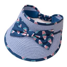Летняя шляпа соломенного мальчика онлайн-Широкий Бант Baby Baby Sun Hat Дети Пустой Топ Соломенная Шляпа Летние Мальчики Девочки Пляжный Отдых На Открытом Воздухе Шляпы Солнца Дети Повседневные Шляпы