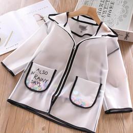 chaquetas de ropa de las muchachas Rebajas 2019 nuevo abrigo de las muchachas del verano moda blanca niños Outwear lentejuelas con capucha niños abrigos niñas ropa de protección solar chaquetas para niños Kid Hoodies A3763