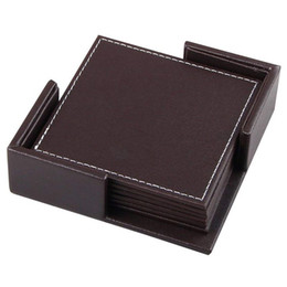 мебельная фурнитура Скидка Coasters For Drinks,Leather Coasters Set With Holder Set Of 6,Protect Furniture From Water Marks Scratch And Damage (Sqaure Br