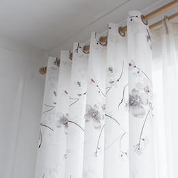 2019 piuma di pavone giallo Tende di Tulle di Tulle di stile cinese floreali moderne pure trasparenti per la finestra della cucina della camera da letto del salone Tende trasparenti