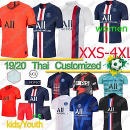Camisetas de fútbol para niños online-Thai Maillots de equipos de fútbol 19 20 PSG fútbol jerseys Mbappé ICARDI Marquinhos CAVANI Sarabia cuarta camisa hombres hijos de las mujeres conjuntos Camisa Cuarto