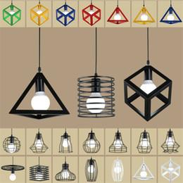 Apparecchio di rosa online-Vintage retrò nordico luci del pendente loft lampada a LED cubo di metallo gabbia paralume illuminazione metallo appeso apparecchio LampLighting