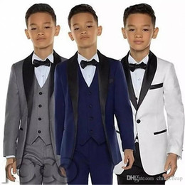 boys suits pink color Promo Codes - Boys Tuxedos Dinner Suits Three Piece Little Boy Suit Black Shawl Lapel Formal Suits Tuxedo Kids Children Formal Wear (Jackets+Vests+Pants)