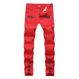 Тощие джинсы грузовые штаны мужчины онлайн-2018 New Skinny Biker Jeans Men Motorcycle Stretch Cargo Denim Jeans with Zippers Pleated Slim Jean Men's Plus Size 40 42 Pants