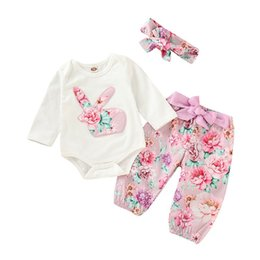 df9a8885d20c easter day 2019 long sleeved kids clothes girls kids clothing sets bunny  white romper   flower pants   headband 3pc set