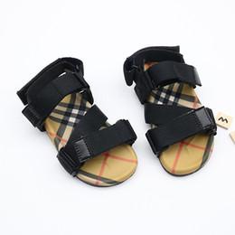 Rote bequeme sandalen online-Kids Sandals Summer vintage Sandals Beach Slippers Slippers Casual comfortable Slippers Summer Sandals black Red strip