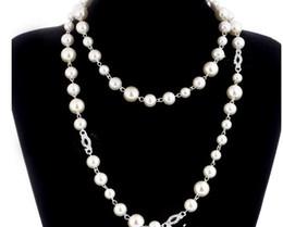 2018 Koreanische Lange Pullover Kette Colar Maxi Halskette Simulierte Perle Blumen Halskette Frauen Modeschmuck bijoux femme Weihnachtsgeschenke von Fabrikanten